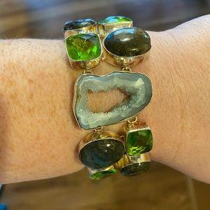 Beautiful gem stone  in sterling silver bracelet